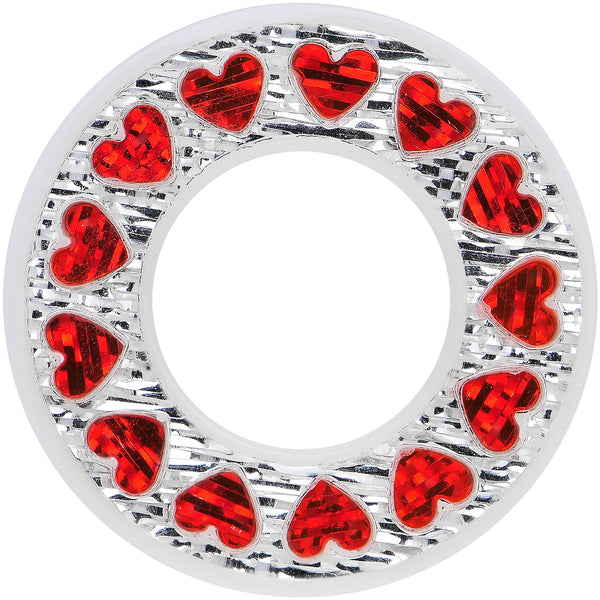 9/16 White Acrylic Crystal Red Heart Tunnel Plug