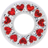 1/2 White Acrylic Crystal Red Heart Tunnel Plug