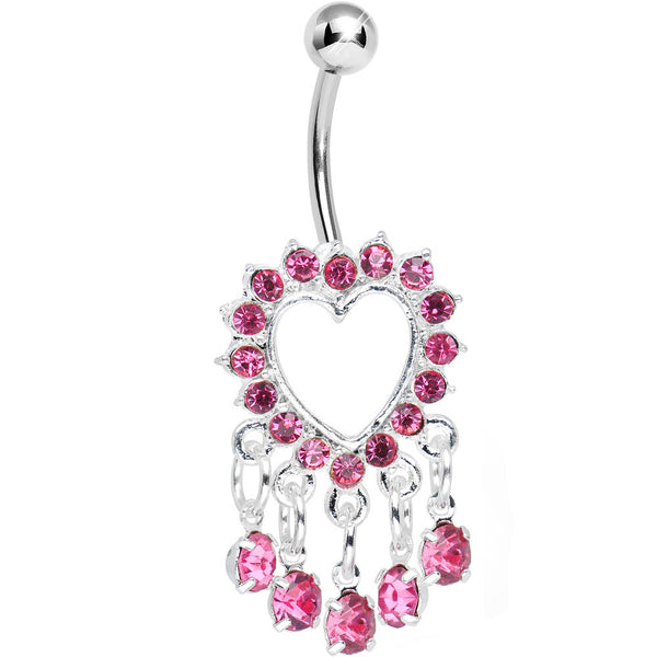 Pink Gem Super Sparkle Drops and Hollow Heart Dangle Belly Ring