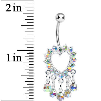 Aurora Gem Super Sparkle Drops and Hollow Heart Dangle Belly Ring