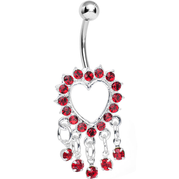 Red Gem Super Sparkle Drops and Hollow Heart Dangle Belly Ring