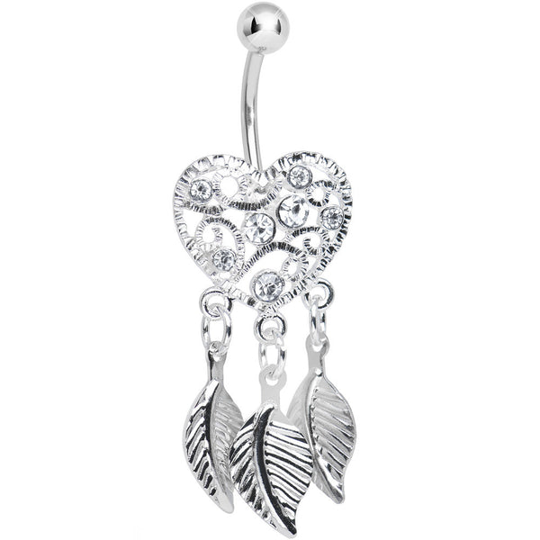 Crystalline Gem Filigree Heart Dreamcatcher Dangle Belly Ring