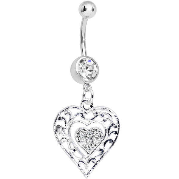 Crystalline Gem Layered Love Dual Heart Dangle Belly Ring