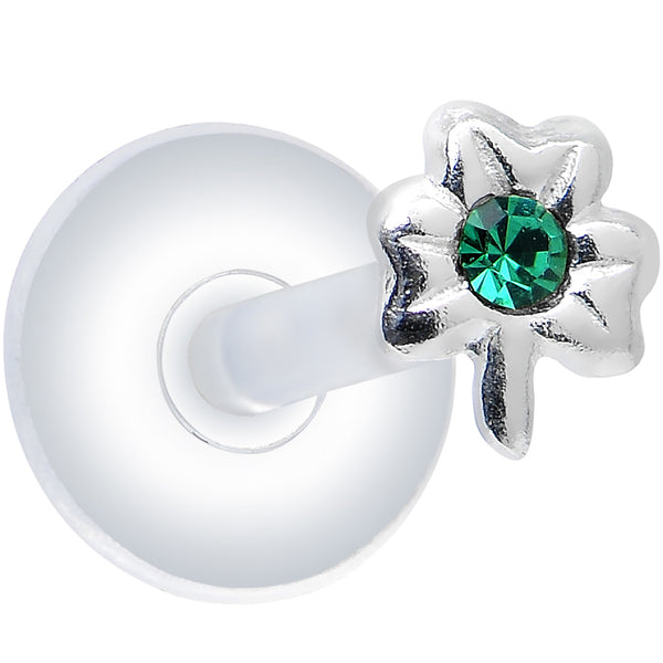 925 Silver Clear Green Cubic Zirconia Shamrock Push-In Labret Monroe
