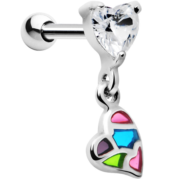 Silver 925 Multi Mosaic Heart Gem Dangle Cartilage Tragus Earring