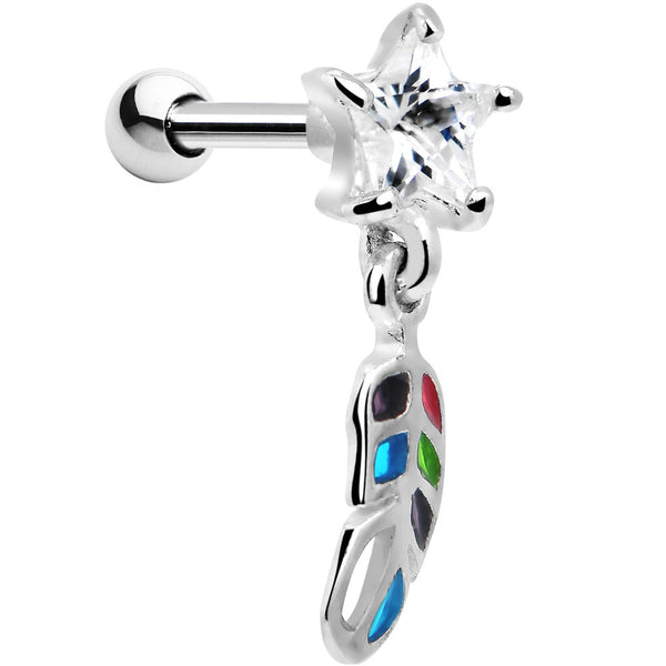 Silver 925 Multi Mosaic Feather Gem Dangle Cartilage Tragus Earring