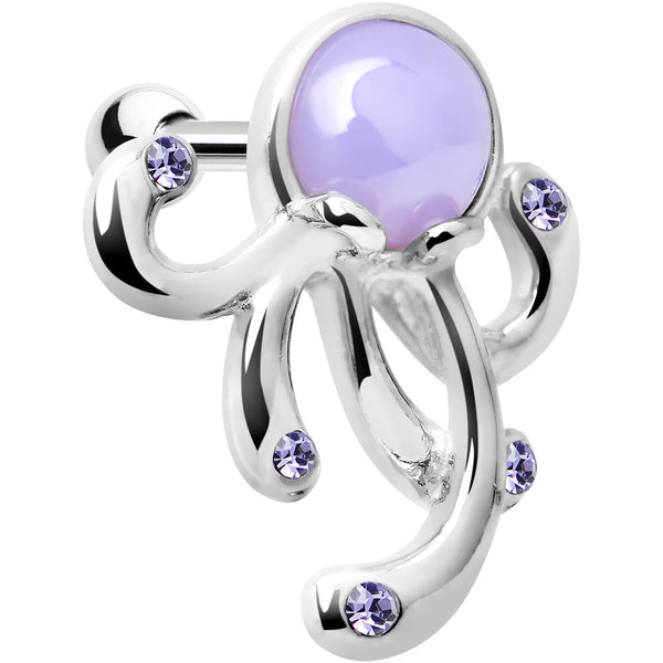 Silver 925 Purple Gem Floating Octopus Cartilage Tragus Earring