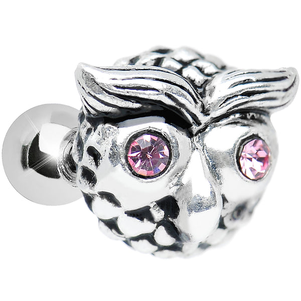 Silver 925 Pink Gem Eyes Patterned Owl Face Tragus Cartilage Earring