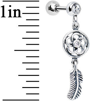 925 Silver Clear Gem Posy Flower Dreamcatcher Dangle Tragus Cartilage Earring