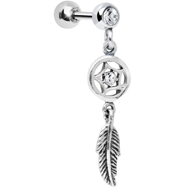 925 Silver Clear Gem Star Dreamcatcher Dangle Tragus Cartilage Earring