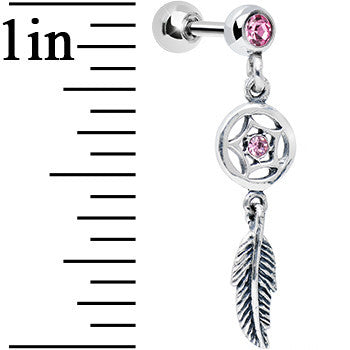 925 Silver Pink Gem Star Dreamcatcher Dangle Tragus Cartilage Earring