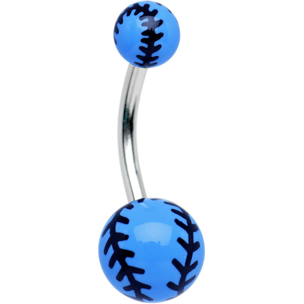 Blue Acrylic Double Play Baseball Belly Ring