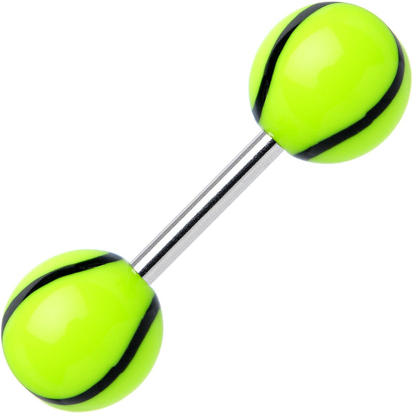 Green Black Acrylic Playing Doubles Tennis Ball Barbell Eyebrow Ring