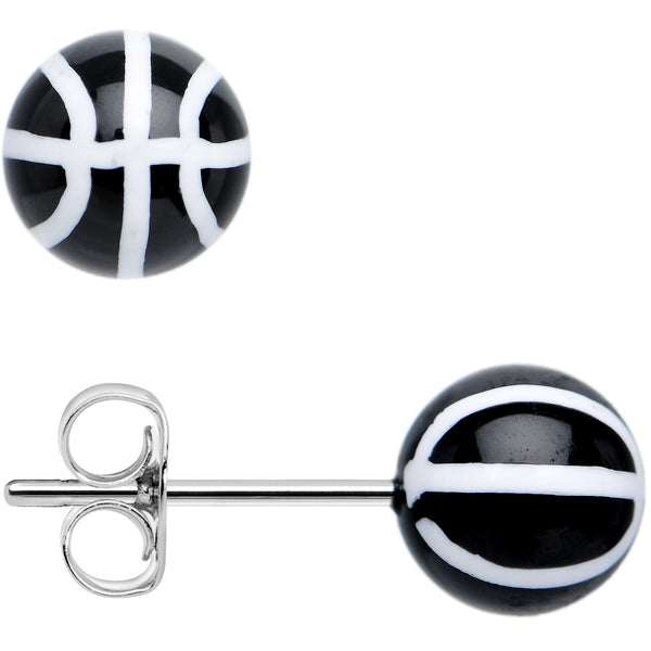 Black Acrylic Double Dribble Basketball Stud Earrings