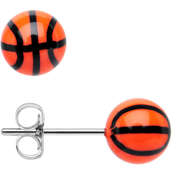 Orange Acrylic Double Dribble Basketball Stud Earrings
