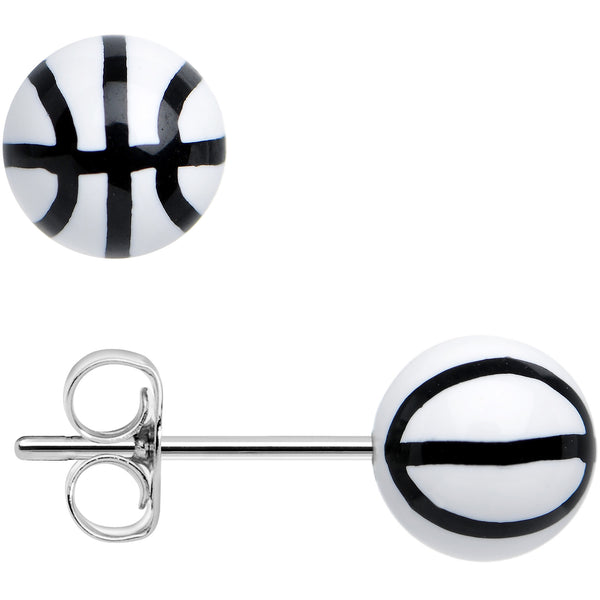 White Acrylic Double Dribble Basketball Stud Earrings