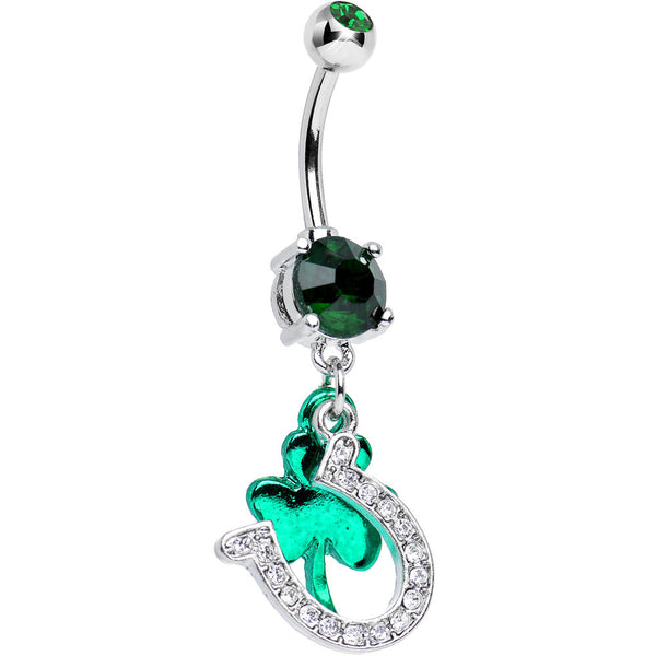 Green CZ Get Lucky Horseshoe and Clover Dangle Belly Ring