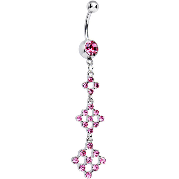 Pink Gem Triple Hollow Diamond Dangle Belly Ring
