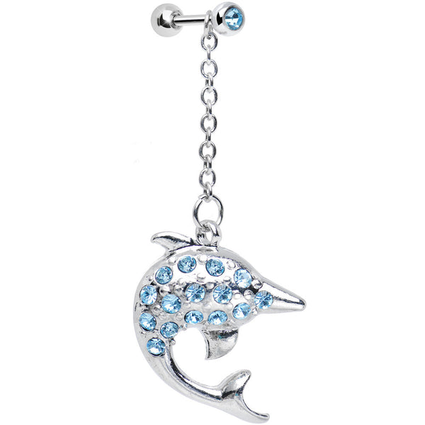 Aqua Gem Bottlenose Dolphin Dangle Cartilage Tragus Earring