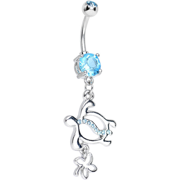 Aqua CZ Turtle with Clover Dangle Belly Ring
