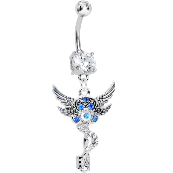 Clear Gem Double Winged Skeleton Key Dangle Belly Ring