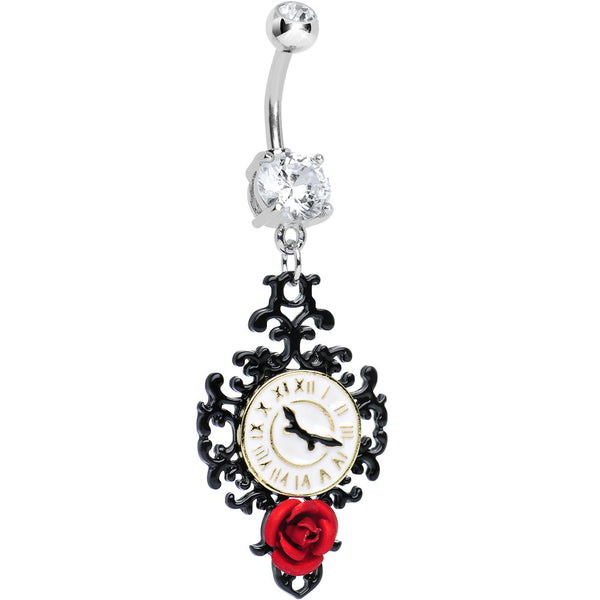 Clear Gem Baroque Clock with Red Rose Flower Dangle Belly Ring
