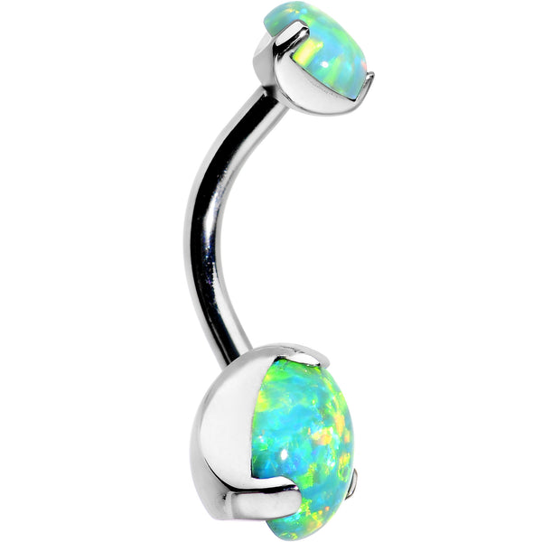 Double Green Synthetic Opal Internally Threaded Belly Ring 3/8