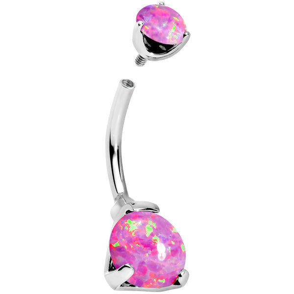 Double Pink Synthetic Opal Internally Threaded Belly Ring 3/8