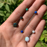 Double White Synthetic Opal Internally Threaded Belly Ring 3/8