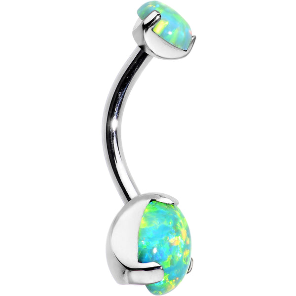 Double Green Synthetic Opal Internally Threaded Belly Ring 7/16