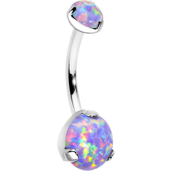 Double Light Purple Synthetic Opal Internally Threaded Belly Ring 7/16