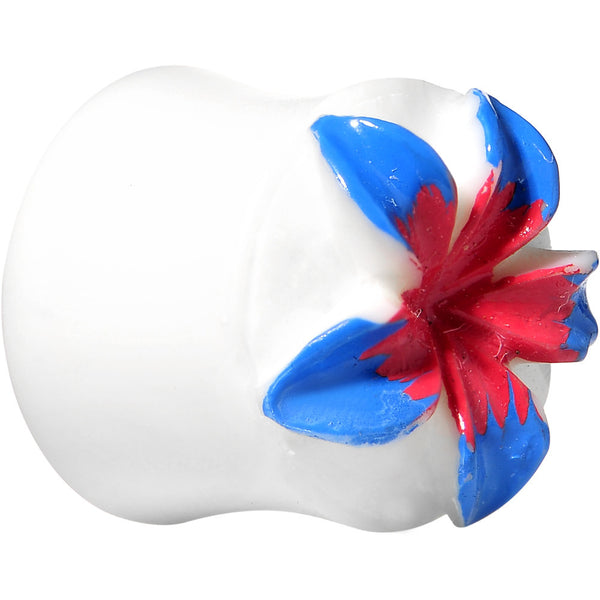 00 Gauge Organic Buffalo Bone Blue Pink Tropical Flower Saddle Plug