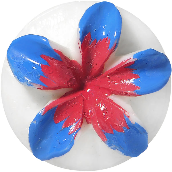 5/8 Organic Buffalo Bone Blue Pink Tropical Flower Saddle Plug