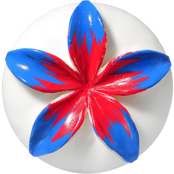 35mm Organic Buffalo Bone Blue Pink Tropical Flower Saddle Plug
