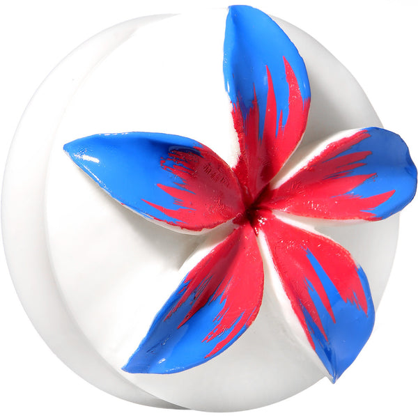 41mm Organic Buffalo Bone Blue Pink Tropical Flower Saddle Plug