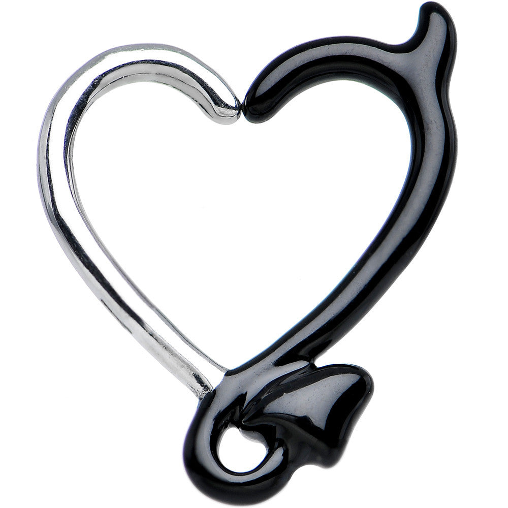 "16 Gauge 3/8"" Black Devil Heart Closure Daith Cartilage Tragus Earring"