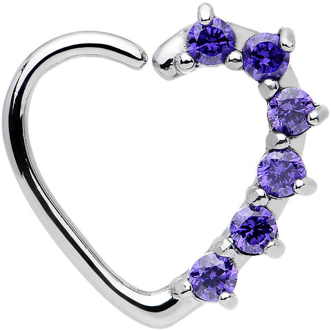 16 Gauge Purple CZ Heart Left Closure Daith Cartilage Tragus Earring