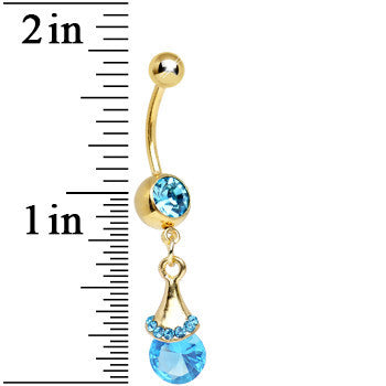 Aqua Gem Gold Plated Spring Rain Drop Dangle Belly Ring