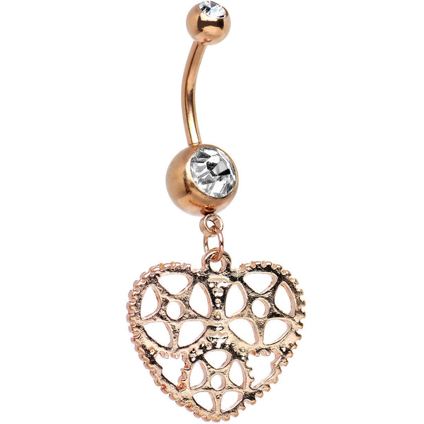 Clear Gem Rose Gold Plated Mechanical Heart Dangle Belly Ring