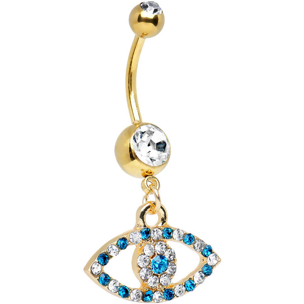 Clear Aqua Gem Gold Plated Dazzling Eye Dangle Belly Ring