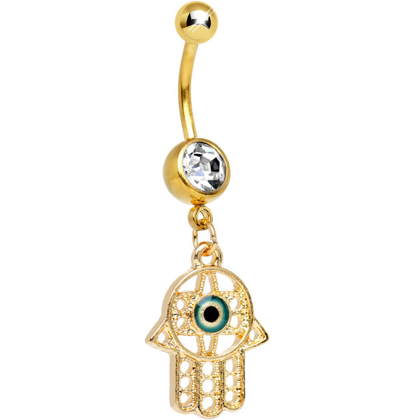 Clear Gem Gold Plated Protective Hamsa Hand Dangle Belly Ring