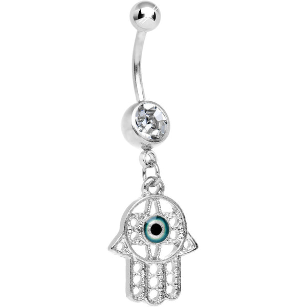 Clear Gem Protective Hamsa Hand Dangle Belly Ring