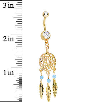 Clear Gem Gold Plated Glossy Dreamcatcher Dangle Belly Ring