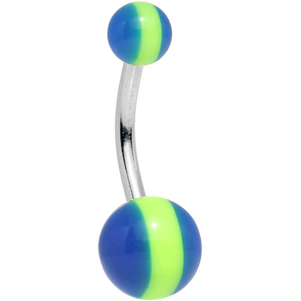 Green Blue Acrylic Striped Candy Belly Ring