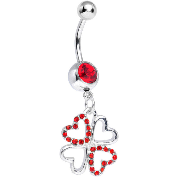 Red Gem Lucky in Love Quad Dangle Belly Ring