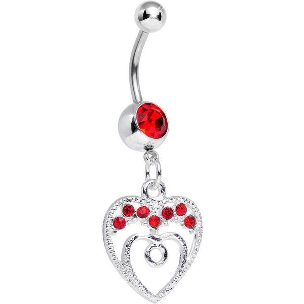 Red Gem Grow with Love Dangle Belly Ring