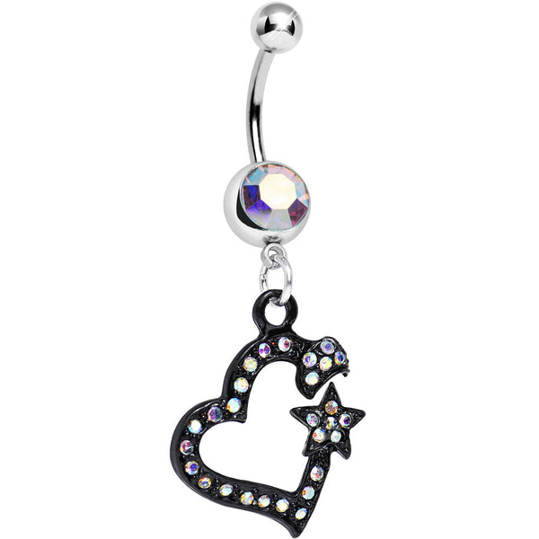 Aurora Gem Celestial Bodies Dark Heart Dangle Belly Ring