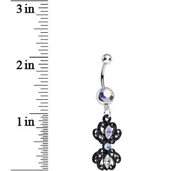 Aurora Gem Black Frilly London Lace Dangle Belly Ring