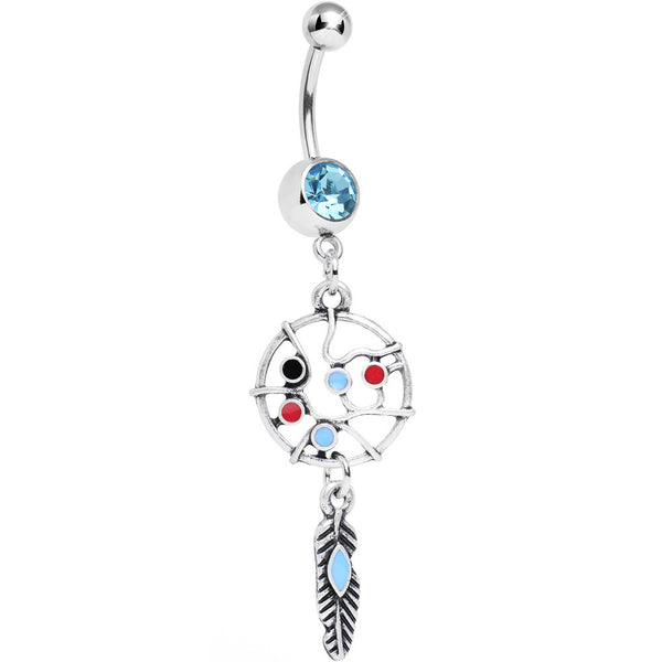 Single Aqua Gem Web of Life Dreamcatcher Belly Ring