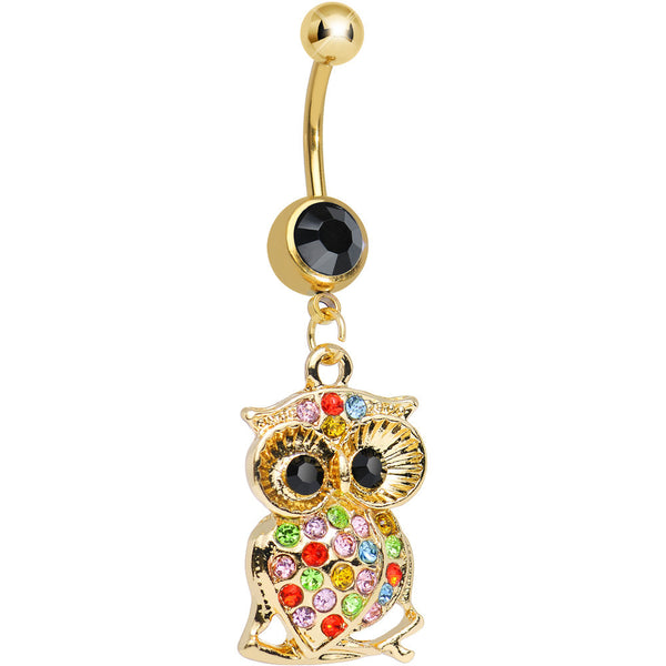 Black Gem Gold Plated Sparkling Multicolored Owl Dangle Belly Ring